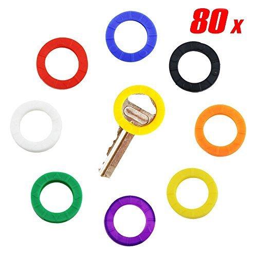 isusser 80Kappen Tags, Kunststoff Schlüsselbezeichnung Ringe, Schlüssel ID Ringe, Upgraded Material, das stark Widerstandskraft in 8verschiedenen Farben (Schwarze Taste Ring-tags)