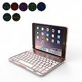 OBOR Aluminiumlegierung iPad Mini Keyboard Case - 7 Farben Hintergrundbeleuchtung Flip Wireless Bluetooth Tastatur Schutzhülle für iPad Mini 4 (Roségold)