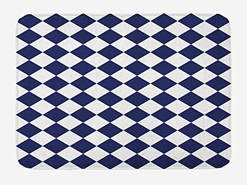 PdGAmats Blue Bath Mat, Classical Old Fashioned Checkered Pattern Geometric Diagonal Skewed Squares, 23.6 W X 15.7 W Inches Square Double Old Fashioned