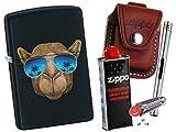 Zippo Camel With Sunglasses + Zippo POUCH mit Zippo Zubehör und L.B Chrome Stabfeuerzeug (mit LOOP Braun Pouch)
