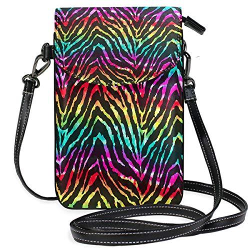ZZKKO Bunte Tier-Zebra-Print Mini-Kreuz-Schultertasche Handy Geldbörse Geldbörse Leder für Frauen Casual Alltag Reisen Wandern Camping