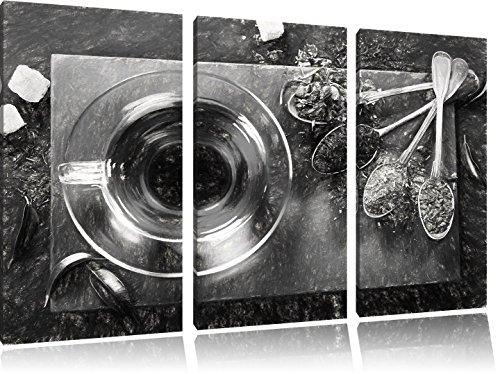 Hot effetto disegno a carboncino di erbe 3 pezzi picture tela 120x80 immagine sulla tela, XXL enormi immagini completamente Pagina con la barella, stampe d'arte sul murale cornice gänstiger come la pittura o un dipinto ad olio, non un manifesto o un banner, - Arancione Menta Dell'erba