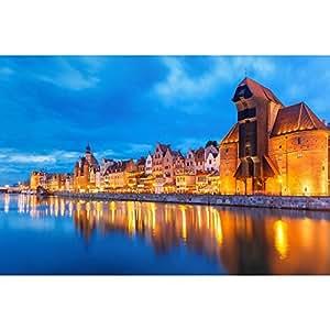 PB Old Town Of Gdansk & Motlawa River, Poland Peel & Stick Vinyl Wall Sticker Decal 42 x 28inch