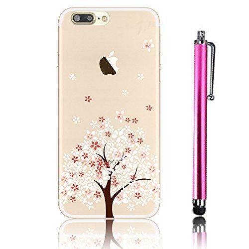 iPhone 7 Plus Case (5.5), iPhone 7 Plus Custodia, Bonice TPU trasparente Ultra Slim Thin 3D Case + Stilo Penna - butterfly Girl model 6