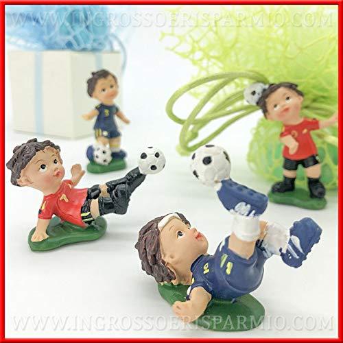 Ingrosso e risparmio 12 statuette a forma di calciatore con pallone da calcio in resina colorata, bomboniere compleanno, comunione maschio (senza confezionamento)