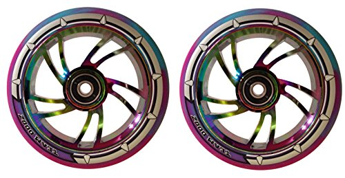 Team Dogz 120mm Swirl Scooter Wheel - Rainbow Core with Blue/Purple Tyre