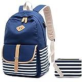 Zaino Scuola Ragazza Superiori Zainetto Tela Ragazza Canvas Backpack Vintage Zaino Donna Universitá porta PC Zaini Scolastici + Borsa per Penna (blu)
