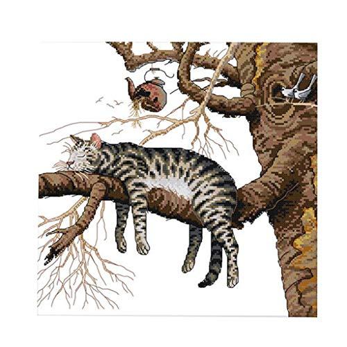 F Fityle Kreuzstich Stickpackung Stickerei vorgezeichnet Kreuzstichpackung Selber Handarbeit -Katzen Muster, für Kinder, Erwachsene oder Anfänger - 14CT gestempelt -