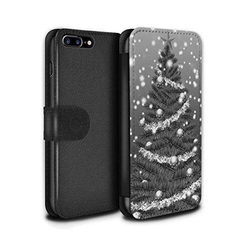 Stuff4 Coque/Etui/Housse Cuir PU Case/Cover pour Apple iPhone 7 Plus / Gris Design / Sapin/Arbre de Noël Collection Gris