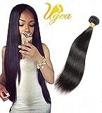 Ugeat 1 Bundle 26zoll Glatt Brasilianisch Echthaar Tressen Naturliche Schwarz Extensions Haare 1b# 100g