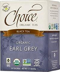 Choice Organic Earl Grey Tea, Black Tea, 16-Count Box 1.1 Oz (Pack of 6)
