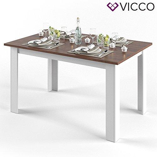 VICCO Esstisch KARLOS 140cm Weiß Nussbaum Esszimmertisch Wohnzimmer Küchentisch ++...