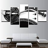Modulare Bilder Home Decor Leinwand HD Drucken 5 Stück Musik DJ-Konsole Instrument Mischer Malerei Wohnzimmer Wall Art Poster Frame, 40 x 60 40 x 80 40 x 100 cm, Rahmen