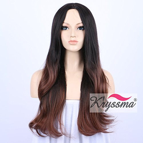kryssma-realistic-looking-middle-part-ombre-brown-wigs-for-ladies-long-natural-wavy-synthetic-hair-w
