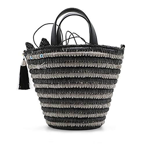 QTKJ Nette Katze Stroh Einkaufstasche Sommer Stroh Umhängetasche mit Quasten Anhänger, Handgewebte Strand Umhängetasche Eimer Tasche für Frauen (Schwarz)