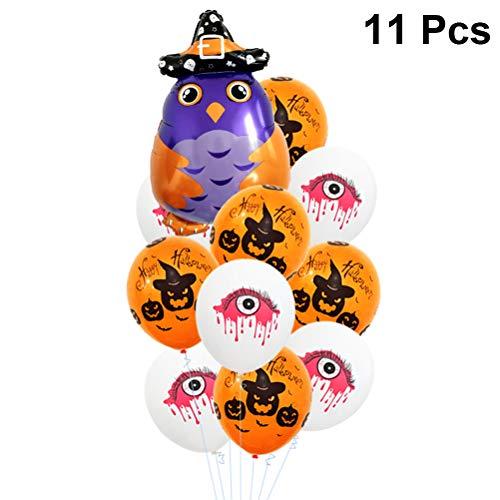 Amosfun 11 stücke Halloween Party Luftballons Kreative Eule Aluminiumfolie Luftballons Kürbis Latex Ballon Blut Auge Gedruckt Luftballons für Ghost Festival Halloween Party Bar Dekore