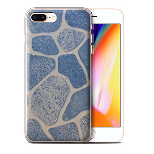 Stuff4 Gel TPU Hülle / Case für Apple iPhone 8 Plus / Muscheln Muster / Stein/Rock Kollektion Steinboden/Blau