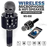 #4: ShopAIS WS-858 Wireless Bluetooth Microphone Recording Condenser Handheld Microphone Stand with Bluetooth Speaker Audio Recording Compatible with All Android and iOS Devices - (Black)