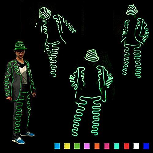DHTW&R LED Nachtshow Performance-kostüm Glühende Kleidung Fluoreszierender Tanz EL Kaltlicht Beleuchtet Strichmännchen Mann Kostüm Batteriebetrieben Maskerade Party Kostüm,Blue,L