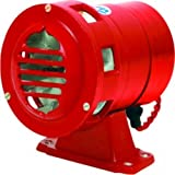 Aarna Fire Tech A.C and Battery Operated Aluminium Motor Siren/Fire Alarm (Red, Standard)