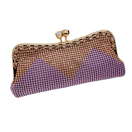 Borsa Delle Donne Perla Di Faux Cascading Bead Sera Strass Frizione Moda Purple
