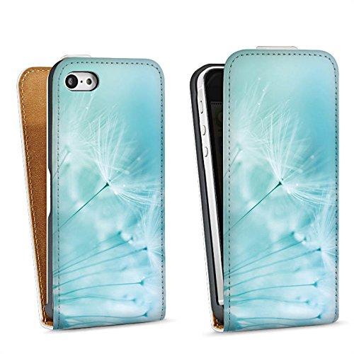 Apple iPhone 4 Housse Étui Silicone Coque Protection Pissenlit Bleu Bleu Sac Downflip blanc