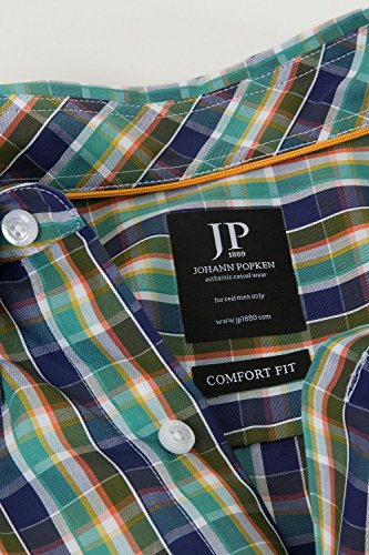 JP 1880 Herren große Größen Karohemd 700981 Dunkelgrün