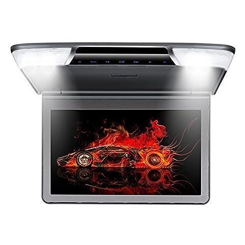 Roverone 11.6 Pouces 1080p Flip Down Voiture moniteur TFT avec HDMI SD USB IR FM Haut-parleur avec écran rotatif Couleur grise