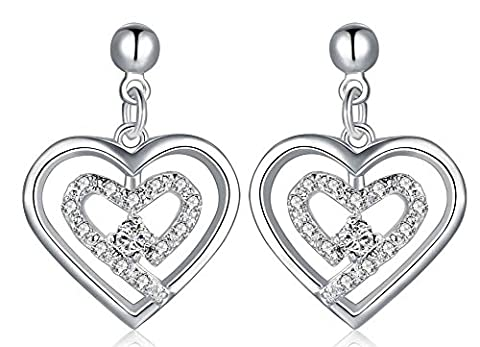 SaySure - Jewelry Silver Plated white heart in heart Earrings
