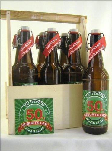 6er Bierträger aus Holz Spruch zum 50. Geburtstag