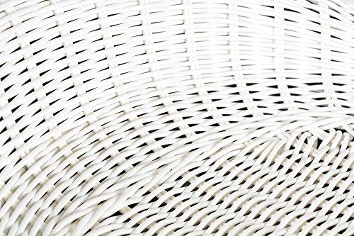 ts-ideen 1 x Barhocker Rattan Barstuhl Weiß Drehstuhl Korbgeflecht - 3