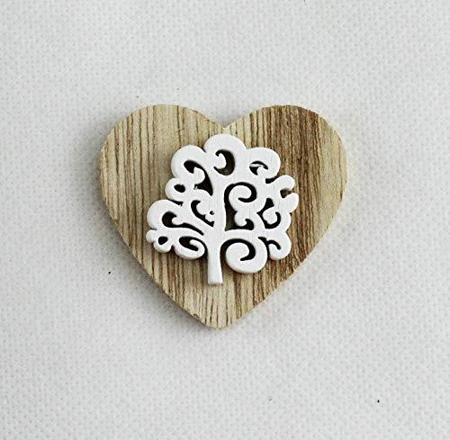 Dlm26874 (kit 12 pezzi) magnete calamita cuore albero della vita in legno bianco segnaposto confettata bomboniera
