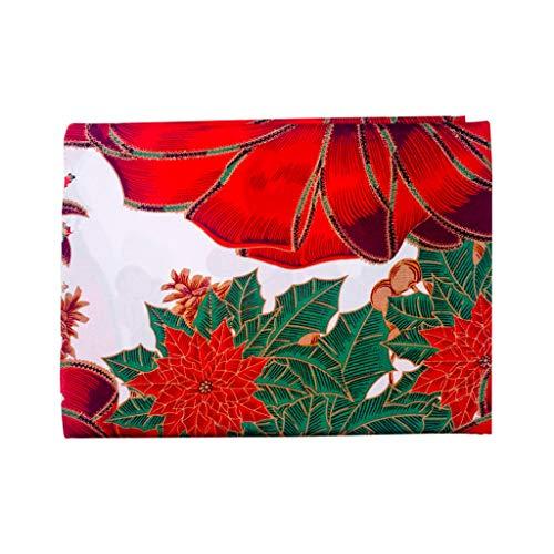Festival Tischdecke Dekoration Weihnachtstischdecke Platzdeckchen Wachstischdecke Rot 180 X150Cm Tischtuch Abwaschbar Tischdekoration Gartentischdecke Mitternachts Silvester Blumendeko Kommunion Deko