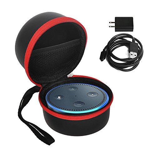 Preisvergleich Produktbild Echo Dot Fall / Beutel / Kasten, KuGi Amazonas Echo-Punkt (2. Erzeugung) Fall, beweglicher schützender tragender Fall Abdeckungs Beutel Kasten für Amazonas Echo Punkt und ganz neuer Echo-Punkt (2. Erzeugung), kompatibel mit USB-Kabel und Wand-Aufladeeinheit (Schwarz Rot)