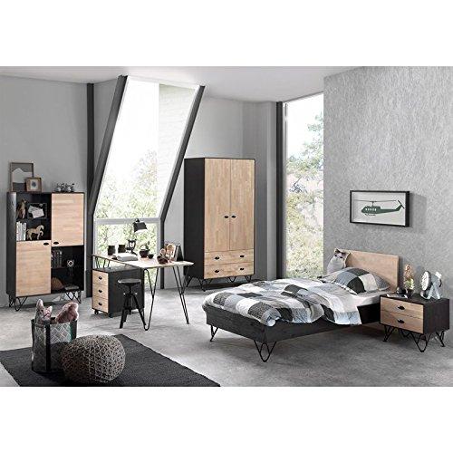 Lomadox Jugendzimmer Komplettset massiv schwarz, Birke massiv natur lackiert, 90x200 cm Jugendbett, Nachttisch, 100cm Kleiderschrank, Highboard, Schreibtisch und Container