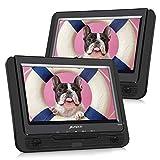Pumpkin Lettore dvd portatile auto bambini poggiatesta doppio 9'' schermo con supporto, circa 5 ore di durata, supporta usb/sd/mmc, regione free