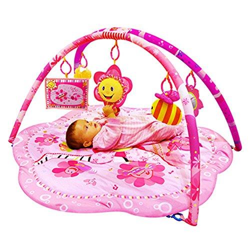 SPEED Krabbeldecke Spielbögen Spieldecke Erlebnisdecke Baby Spielzeug Musik (Rosa Blumen)