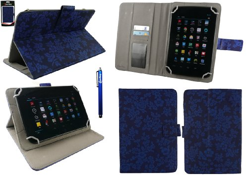 Emartbuy® Allview Viva Q7 Satellite 7 Zoll Tablet Universalbereich Vintage Floral Blau Multi Winkel Folio Executive Case Cover Wallet Hülle Schutzhülle mit Kartensteckplätze + Blau Eingabestift