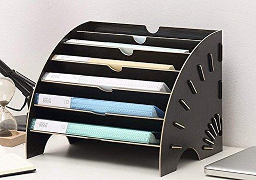 A4 kreativ Sortierelement Briefablage Ablagekorb Holz Unterlagenablage Ablage Magazin Ordnungssystem mit 6 Fächer