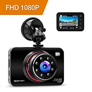 APEMAN 1080P FHD In Car Dash Cam Camera DVR Metal Driving Video Recorder 8 IR LED Lights Super Night Vision 170°Wide Angle with WDR, Loop Recording, G-sensor, Parking Monitoring, Motion Detection