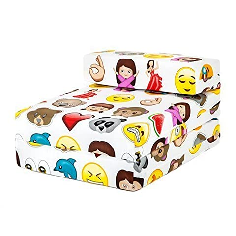 Children's Single Fold Out Foam Z Bed Guest Mattress Chair Bed - Emoji Emoticons