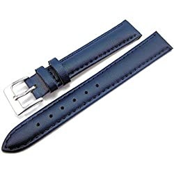 Blue Padded Leather Watch Strap Band With A Stitched Edging And Nubuck Lining 12mm