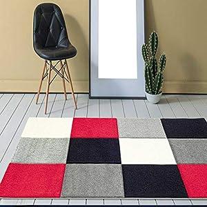VIMODA Designer Teppich Modern Kariert Handgeschnittene Konturen, ÖKO TEX Zertifiziert - Pflegeleicht, Farbe Rot Grau Schwarz, Maße:80 x 150 cm