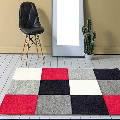 Alfombra de diseño moderna, Frisee, con motivo de cuadrados formando un relieve que ha sido cortado...