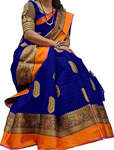 Kanchan Women Silk Cotton Saree With Blouse Piece (Sampoorna Navy_Free Size)
