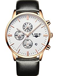 LIGE Mens Military Sport Luminous Chronograph Leather Quartz Watch, Gold White Case With Leather Strap