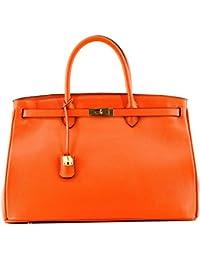 ROUVEN Tangerine orange mandarine citrouille & Gold ICONE CITY 40 Sac Tote fourre-tout sac en cuir dames Sac cartable noble chic et moderne minimaliste (40x28x19cm)