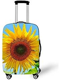 Dbtxwd Funda protectora maleta 3D flores amarillas a prueba de polvo resistente a los arañazos Funda de equipaje de viaje creativa 18-28 pulgadas , 4 , s