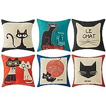 Top finel Hogar 6 Cojines gatos patrón lino algodón fundas almohada decorativa para camas sofás sillas