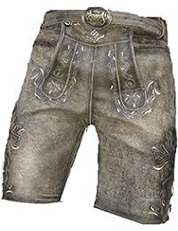 46-58 MAGS World24 Lange Lederhose Trachtenhose lang in antik kastanien braun mit G/ürtel und dezenter Stickerei Gr